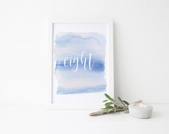 instant download watercolor wash table numbers // blue watercolor ombre // calligraphy lettering // printable digital table numbers 1-20