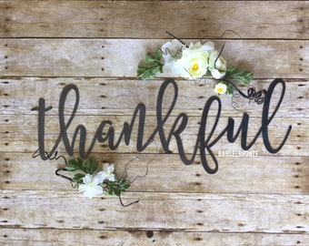 Thankful Sign, Rustic Metal Signs, Farmhouse Decor, Kitchen Signs, Metal Signs, Dinning Room Wall Decor, Religious Signs, Farm House Decor,
