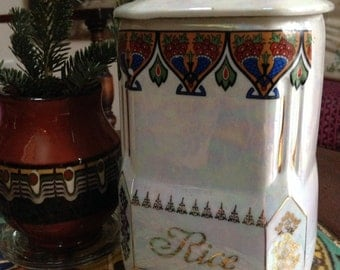 Vintage rice canister from Czechoslovakia ~ art deco design