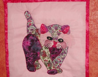 CAT PURPLE  wall art   quilt  patchwork