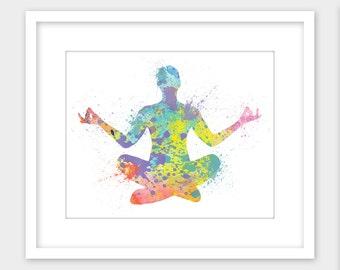 Yoga Print Lotus Pose Printable Splatter Wall Art, Instant Digital Download 8x10
