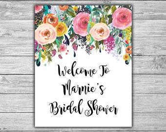 Floral - Bridal Shower - Custom - Welcome Sign - PRINTABLE - Shabby Chic - Bridal Shower Sign - L08