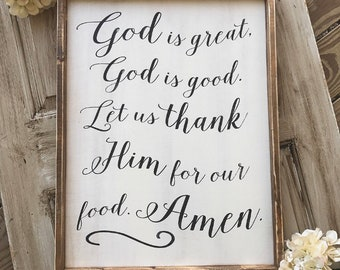 God is Great, God is Good, Prayer, Dining Room Sign, Kitchen Sign, Farmhouse, Framed Sign, Wood Sign, Rustic, Distressed, Farmhouse Style