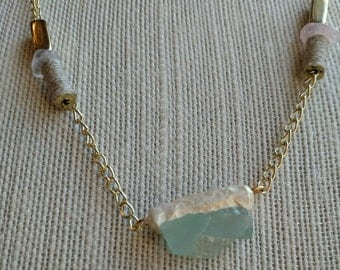 Stone Necklace - Green Stone - Beaded Necklace -