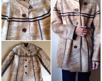 Foal coat / pony and lamb leather beige and Brown vintage 70's 70s Spain / 42 fr