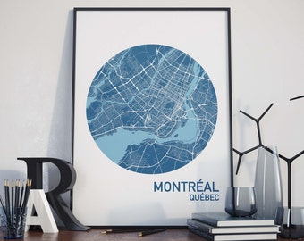 Montreal, Quebec City Map Print