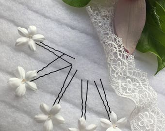 Romantic Wedding Hair Wedding Hairpins-Pins-Hairpins-Hairpins-White Flowers-Wedding Hairstyle-Hairpins-Pins-Boho Hairpins
