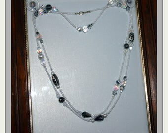 Long Pearl and Silver Necklace