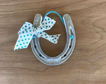 Lucky Horseshoe, Pony Shoe, Cowboy, Cowgirl, Western, Horses, Gallery Wall, Upcycled, Nursery Decor, Silver and Teal, Good Luck