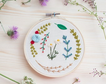 Hand Embroidered Flowers in Hoop. Hand stitched plants