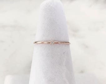 Petite Crystal Ring, Minimalist ring, Dainty ring, stackable ring, thin gold ring, stacking ring, dainty ring, dainty layering ring
