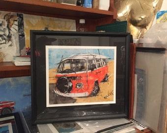 Orange Vw camper print Framed // car art // camper artwork // vehicle prints // I love vw campers !! //
