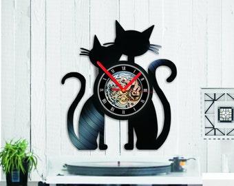 Black Cats Clock Vinyl clock  Wall Clock Gift Cat Lover  Gift For Him, Gift For Her, Cats vinyl clock wall record Cat Vinyl LP Record Gift