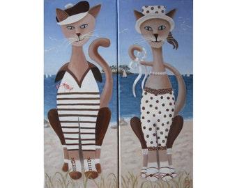 Cats Terton, oil painting, portrait of a couple on vacation, naïve art