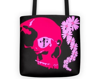 Pink skull, tote bag, skull accessories, gym tote