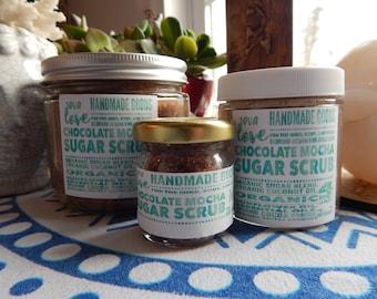 Premium 100% Organic Sugar Scrub in CHOCOLATE MOCHA - Body Exfoliation - 3 Sizes Available - Natural Skin Care, Moisturizing, Cleansing
