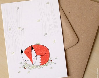 Postcard * Fox * / fox / Woodland / forest / illustration / birthday / gift / baby / child's room