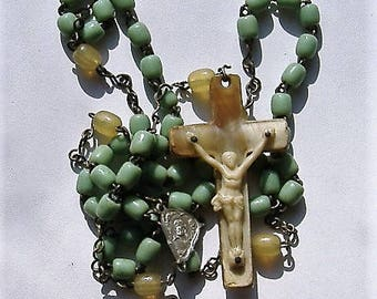 1930s perspex rosary GREEN BEADS