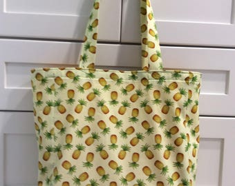 Pineapple Tote Bag-Grocery Tote Bag-Shoppng Tote-Market Tote Bag-Purse-Fruit Tote-Reusable Tote-Pineapples-Recycle-Tropical Tote