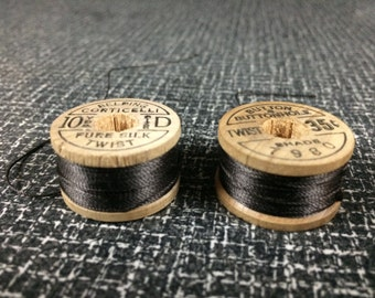 Pair Of Wooden Spools of Belding Corticelli Vintage Silk Thread, Dark Brown, Shade 7980, Made In USA, Size D, 10 Yards