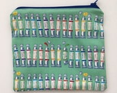 Notions Pouch Handmade Cotton Zippered Small Pouch size 7.5 x 6.5 Colour Paints Notions Pouch