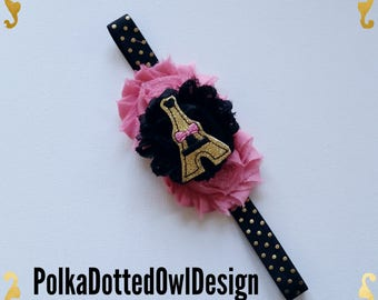 Paris, Eiffel Tower,Planner Band,GIrl headband,Infant headband,Parisian,Glamour,Gold Glitter,Pink and black,Photo prop,Glam PLanning,French