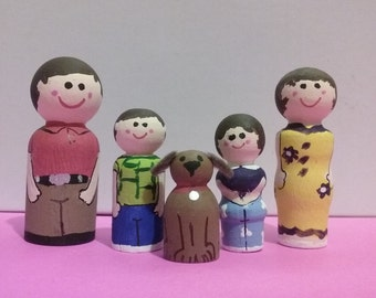 Peg family with wooden  car