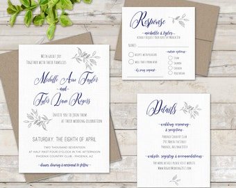 SAMPLE Rustic BoHO Wedding Invitation with RSVP and Detail Cards - Wedding Invitation Suite - Organic, Farm, Simple, Elegant Style - SAMPLE