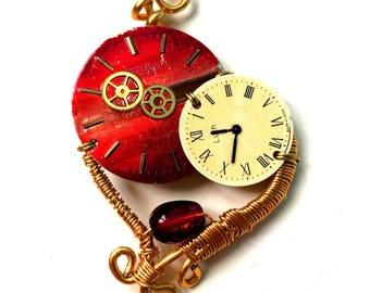 Steampunk pendant wrap with vintage dials