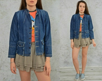 Tommy Hilfiger denim jacket vintage hipster coat Rocker jean button up women M Medium size