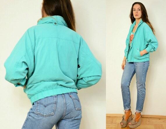 Sport jacket Windbreaker zippered Vintage hipster blue sweatshirt slouchy vintage Nylon oversized unisex pb470Syt