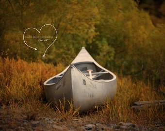 Boat Photograph, Woodland Nautical Row Boat Print, Fall Landscape Photo, Fine Art Print, Rustic Wall Decor, Old Boat in Grass