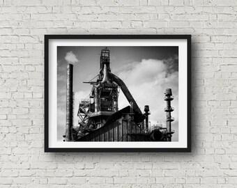 Industrial Wall Decor Black and White Loft Art, Bethlehem Steel Stacks Photograph, Modern Art, Restaurant Art, Masculine Decor