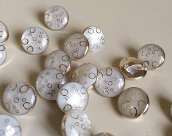 10Pcs Crystal Rhinestone Round Acryl Resin Beige Sewing Shank Buttons 12mm (201)