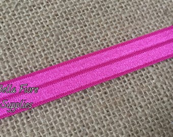 Hot Pink Fold Over Elastic- FOE- Wholesale- DIY Headband- Elastic by the Yard- Pink Elastic