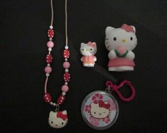 Hello Kitty Bundle - Necklace, Keyring, Small Mini Figurine Toy