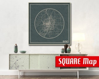 BEND OR SQUARE Map Bend Oregon Poster City Map Bend Oregon Art Print Bend Oregon poster Bend map