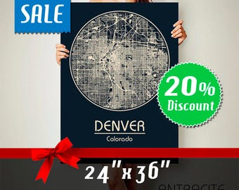 DENVER Colorado City Map Denver Colorado Art Print Denver Colorado poster Denver Colorado map art United States of America Poster