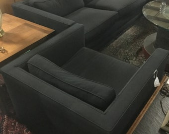 SOLD.  Tuxedo Style Sofa and chair Set in Black Wool Blend Upholstery