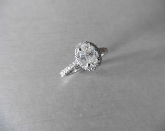 0.84ct Oval shaped diamond set solitaire ring