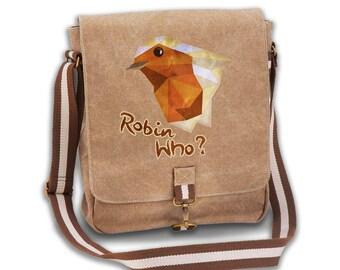 Robin Who? vintage canvas messenger
