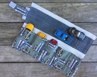Portable Car Caddy - boys toys - childrens gift - handbag toy - cars - quiet play - boy - bus