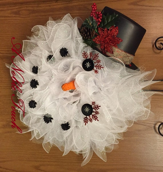 Made to Order Snowman Wreath, Whimsical Wreath, Winter Wreath, Front Door Wreath by A Noble Touch