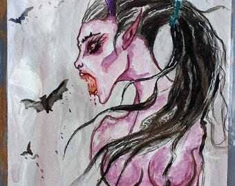 """Original watercolor vampire painting """"Cora"""""""