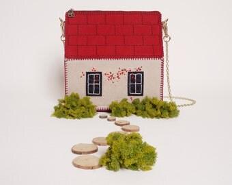 Felt Embroidery House Bag Purse_Hand Made