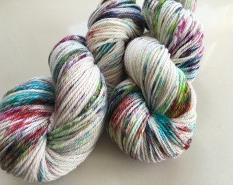 Hand Dyed 10 ply/ worsted speckled yarn.