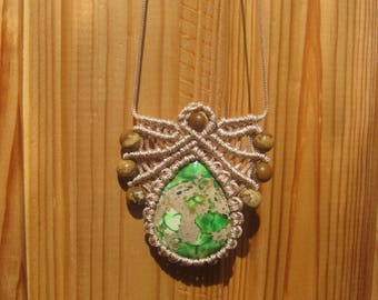 Macrame pendant Macrame necklace Macrame jewelry Gemstone pendant Micromacrame bohemian necklace Bohemian jewelry Macrame stone Drop pendant