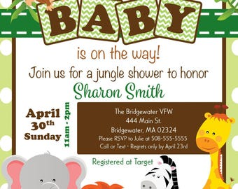 Jungle Shower Invitation..Customizable Printable PDF & JPEG