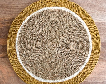 Set of 2 Hand Woven Placemats, Tan, Mustard Yellow and White