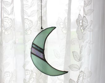 Blue | Iridescent | Stained Glass | Crescent Moon | Handmade | BohoStyle | Geometric | Glass | Moon